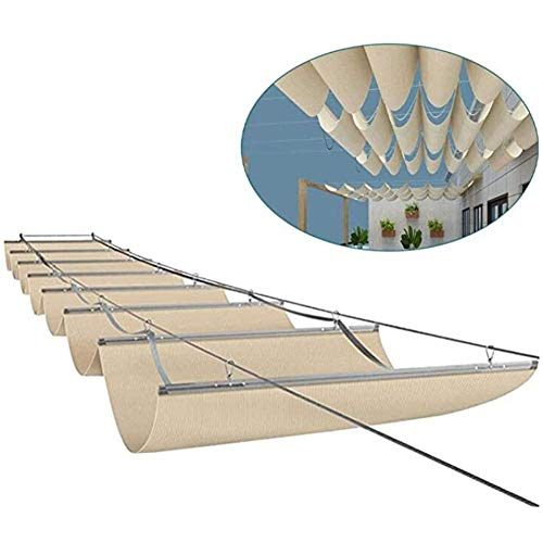 LH-RUG Einziehbar Sonnensegel Dach Welle Überdachung Außenrollos Schatten Spenden Privatsphäre Veranda Pergola Deck, 47 Größen