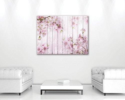 FORWALL Bilder Canvas Kirschblüten auf den Brettern O1 (100cm. x 75cm.) Leinwandbilder Wandbild AMFPP11468O1