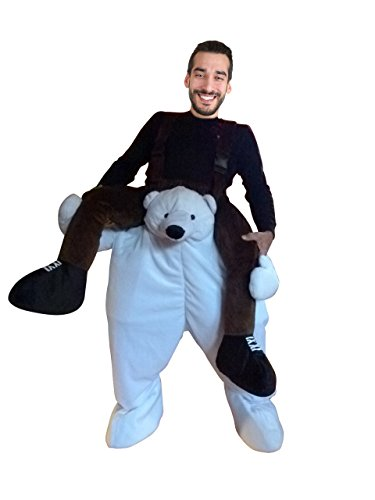 Ikumaal Carry-me Eisbär-Kostüm, F103 Gr. M-L, Eisbären-Faschingskostüm, für Fasching Karneval, Karnevals-Kostüme Männer Frauen, Faschings-Kostüme, Fasnachts-Kostüme Tier-Kostüme, Huckepack-Kostüm