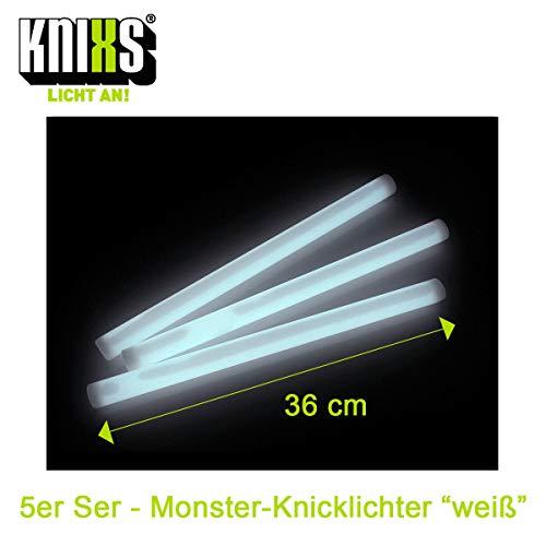 KNIXS 5er Set - Premium Monster-Knicklichter / Mega-Knicklicht 36cm lang - Extreme Leuchtkraft und Lange Leuchtdauer - Gletscherweiß Leuchtend - für Party, Festival und Outdoor