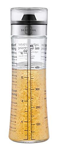 SILBERTHAL Dressingshaker aus Glas mit Rezepten – 500 ml – Spülmaschinenfest - Neuer Deckel