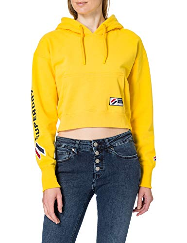 Superdry Sportstyle Graphic Boxy Hood Sudadera con Capucha, Amarillo náutico, L para Mujer
