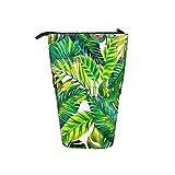 Estuche de lápices telescópico Patrón de hojas tropicales con un organizador detallado increíble Bolsa de lápices de pie Bolsa de papelería Bolsa de cosméticos