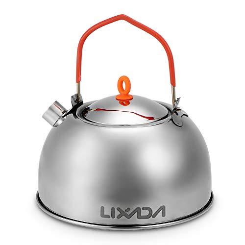 Lixada Tetera Acampada Acero Inoxidable Portátil 0.6L Cafetera para Picnic Camping Senderismo al Aire Libre