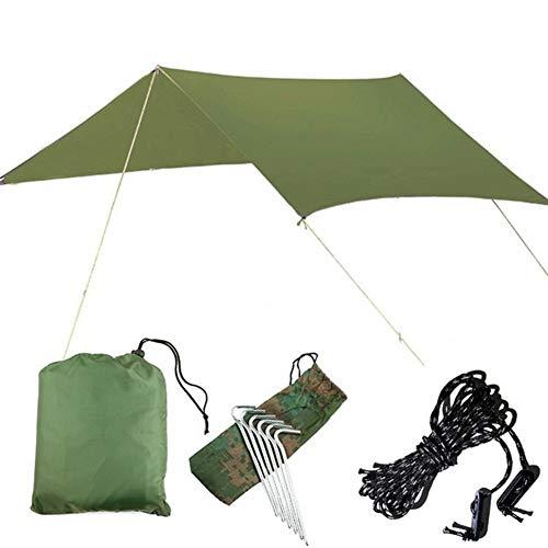 N\A Garden umbrellas Sun Shade for Garden 3Mx3M Anti UV Beach Tent Shade Outdoor Camping Hammock Rain Fly Camping Sunshade Awning Canopy Waterproof Sun Shelter Tent Tarp Patio Parasol (Color : Green)
