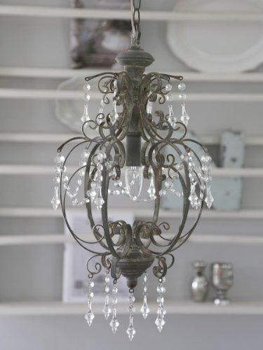 Chic Antique * Grande lampadario da soffitto, lampadario in stile anticato, 31 x altezza 52 cm, colore: grigio antico