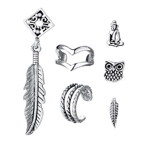YZYZ Juego de pendientes de aleación de seis piezas con diseño de búho, estilo bohemio