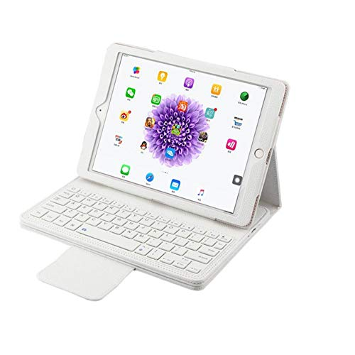 Zzyx Tablet Wireless Bluetooth Teclado Funda para iPad Pro 9.7 2016 Tableta Desmontable Flip Soporte de Cuero Cubierta + Stylus (Color : White)