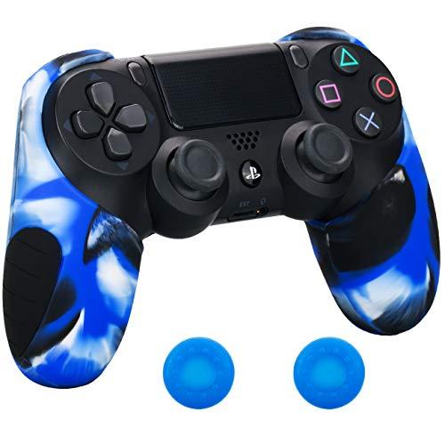 Pandaren mezza pelle cover skin di silicone più spessa per il controller PS4 (camuffamento blu) x 1 + presa pollice thumb grips x 2