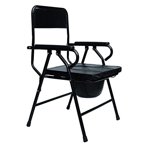 GLLMY Commode Chair Safety and Sturdy Steel Toilet Chair Shower Chair Comfortable Padded Armrests Anti-Slip Ferrules for Elderly Disabled or Handicapped