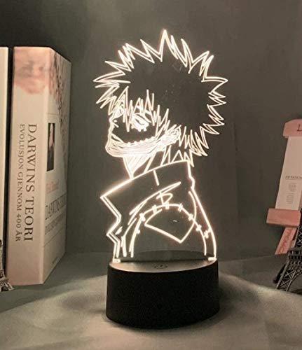 BTEVX 3D noche luz japonesa anime ilusión led decoración lámpara acrílico 3D lámpara My Hero Academia Dabi llevó la luz para la decoración del dormitorio Cool Manga regalo para él RGB colorido Dabi
