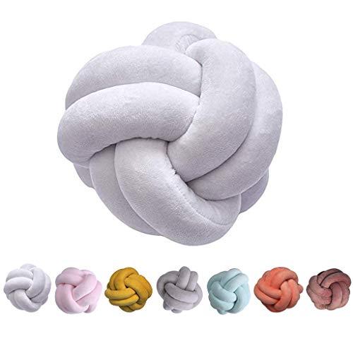 shengo Knot - Almohada nudos, simplicidad nórdica, creativa, cojín nudos, a la moda, bonito cojín de nudos, decoración para el hogar, sofá, cama, cama infantil, 25 x 25 cm (blanco)