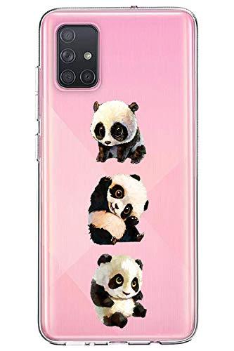 Oihxse Cristal Compatible con Samsung Galaxy A8S Funda Ultra-Delgado Silicona TPU Suave Protector Estuche Creativa Patrón Panda Protector Anti-Choque Carcasa Cover(Panda A1)