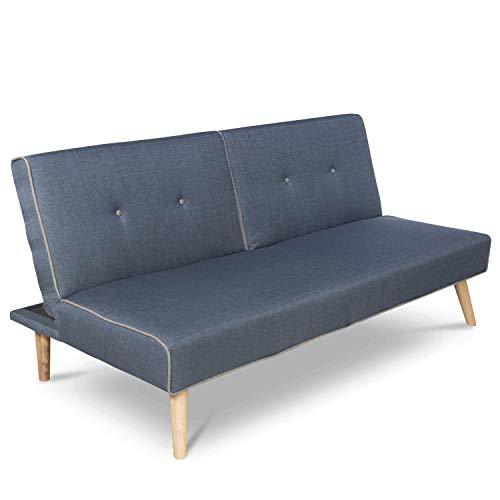 Homestyle4u 1895, Schlafsofa Sofa mit Bettfunktion Klappbar, Schlafcouch Grau Blau Stoff
