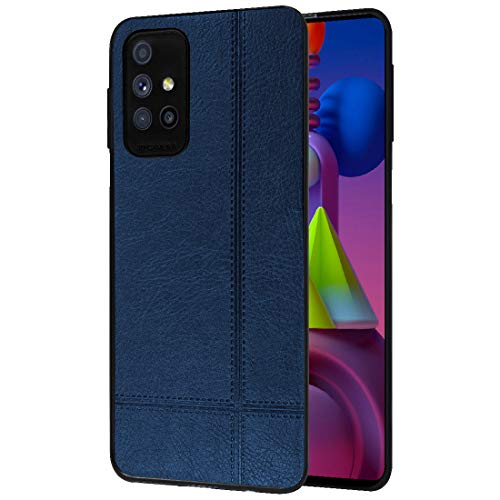 Amazon Brand – Solimo Back Cover for Samsung Galaxy M51 (Flexible | Leather | Blue)