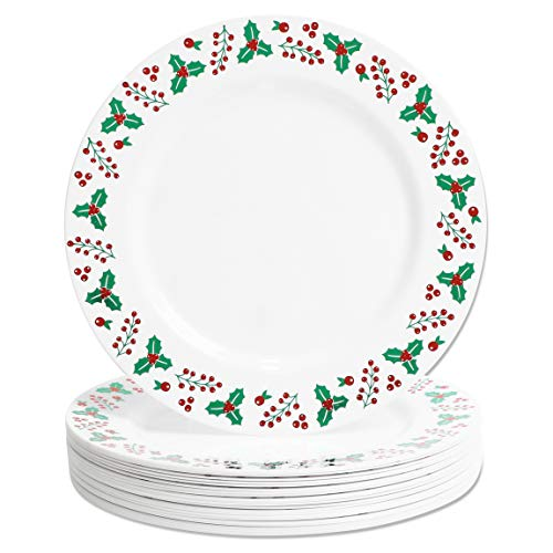 Plastic Plates with Foil Edge for Christmas, Reusable Plate (10.25 In, 24 Pack)