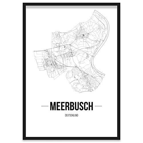 JUNIWORDS Stadtposter, Meerbusch, Wähle eine Größe, 40 x 60 cm, Poster mit Rahmen, Schrift B, Weiß