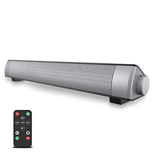 VersionTECH. Soundbar 2.0 Canali, Altoparlante Hi-Fi Suono Surround 3D, Barra Soundbar Bluetooth 4.1 Wireless & Cablata Compatibile TV/Cellulare/PC per Casa/Bar/Montaggio a Parete, supporto [RCA, AUX]