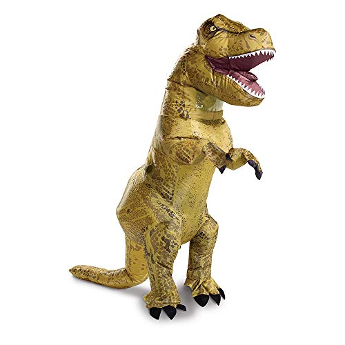 Disguise Jurassic World T-Rex, Inflatable Dinosaur Costume for Adults, Fan Operated Expandable Blow Up Jumpsuit, Multicolored, One Size (up to 42-46)