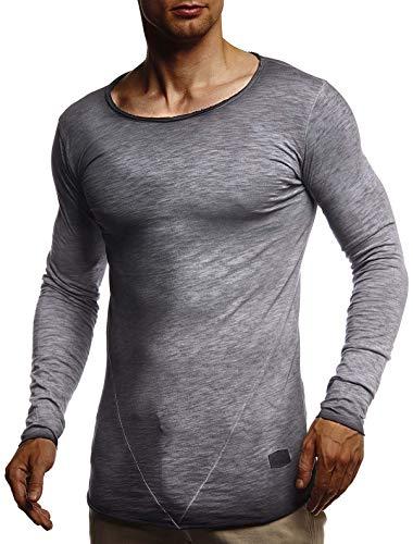 Leif Nelson Herren Langarmshirt tiefer Rundhals-Ausschnitt Männer Longsleeve Sweater dünner Pulli Sweatshirt Pullover Crew Neck Jungen T-Shirt Langarm Oversize LN6302 Anthrazit X-Large