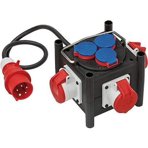 Brennenstuhl Kompakter Gummi-Stromverteiler / Gummiverteiler (1m Kabel, 3x CEE 400V/16A, 3x 230V/16A, Baustelleneinsatz und ständigen Einsatz im Freien, Made in Germany)