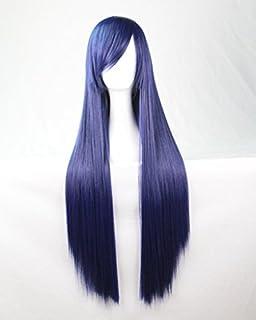 CEXIN(セシン) レディース ウィッグ カラーウィッグ コスプレウィッグ フルウィッグ ストレート ロング 80cm コスチューム イベント 仮装 学園祭 purplish blue