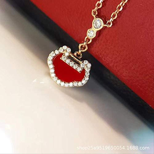NO BRAND s925 Plata esterlina Chapado 18K Oro Micro-Conjunto de Diamantes de Alto Carbono Mini Tan Feliz como Ping-Lock Collar de ágata Rojo de Las Mujeres