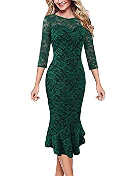 VFSHOW Womens Green Floral Lace Elegant Vintage Casual Cocktail Party Bodycon Pencil Mermaid Midi Mid-Calf Dress 3535 GRN XL