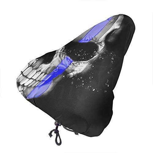 GUANN Waterproof Bike Seat Cover Skull Blue Line American Flag Bike Seat,Bicycle Cushion for Bike Saddle, Bike Rain Cover with Drawstring