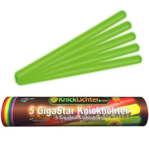 5 Knicklichter | 300 x 15 mm | GRÜN | Giga Star | Extra groß | ca. 14 h Brenndauer