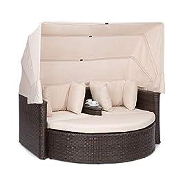 blumfeldt Heartland – Canapé Lounge 2 Places avec Table Basse intégrée, Chaise Longue de Jardin, Structure en Acier avec…