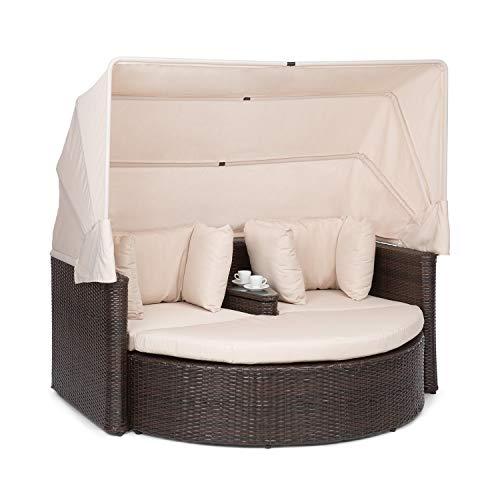 blumfeldt Heartland - 2 Sitzer-Lounge-Sofa mit integriertem Kaffeetisch, Loveseat Gartenliege, Stahlrahmen mit Polyrattan in Weidenflecht-Optik, Zustell-Hocker, extra Kissen, beige