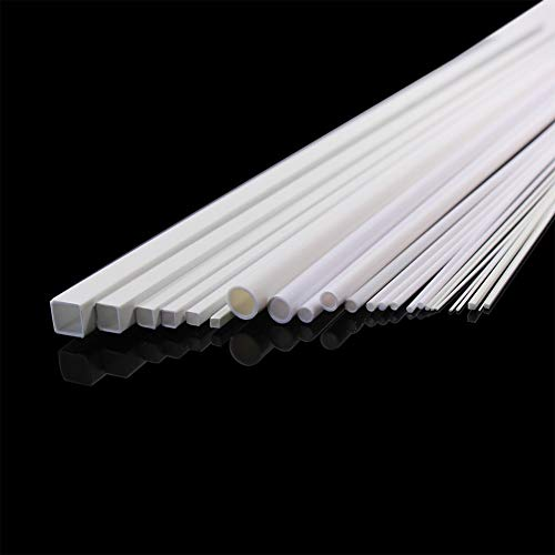Without brand 48pcs Styrene Round ABS Rod, Square ABS Rod,Round Pipe Tube Hollow,Square Tube Pipe Sections Architectural