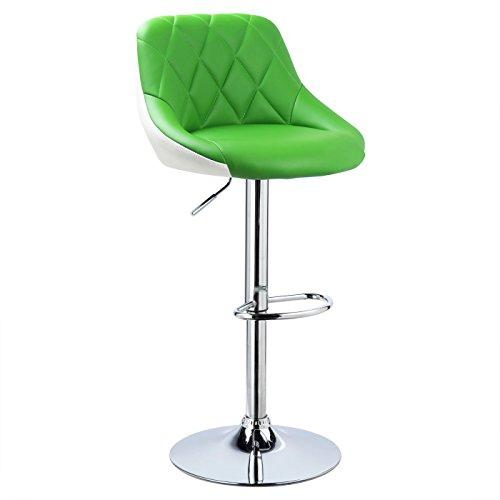 WOLTU® 1x Barhocker Barstuhl Tresenhocker Bistrohocker mit Griff, Design Stuhl, höhenverstellbar, frei drehbar, Sitzfläche aus Kunstleder, Gestell aus verchromtem Stahl, 2 farbig, Grün+Weiß BH30gn-1