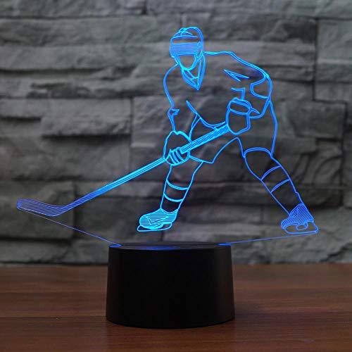 3D Led Touch Control Und Fernbedienung Eishockey Player Form Nachtlicht 16 Farben Ändern Usb Tischlampe Visuelle Schlaf Beleuchtung Leuchte Geschenke