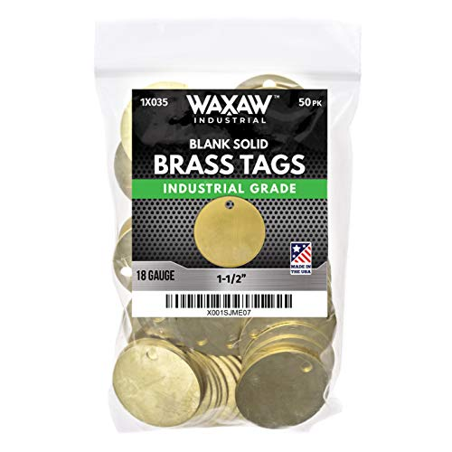 """1.50"""" Solid Brass Stamping Tags (50 Pack) Industrial Grade 0.040"""" Blank Chits for Pipe Valves, Keys, Tool and Equipment Labeling 
