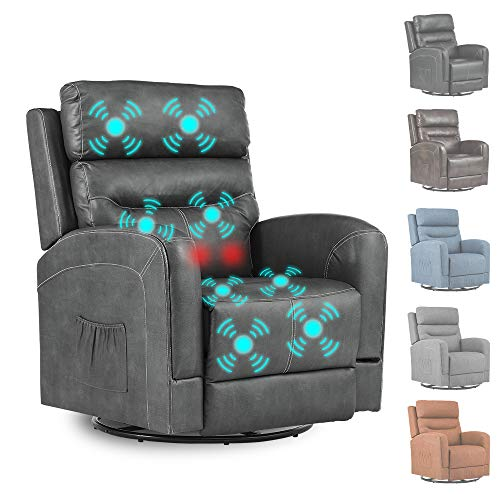 Massage Recliner Chair Sofa with Lumbar Heating Rocker Recliner with 360 Swivel Remote Control 8-Point Vibration for Home Theater Living Room Adult (PU Leather GREY02)
