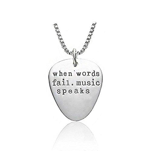 silver-tone Cadoline 'When Words Fail Music Speaks inciso ciondolo collana 2.5cm con 45,7cm catena plettro