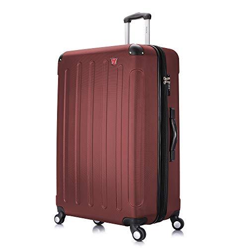 DUKAP Intely 28 Inch Medium Spinner Suitcase with Ergonomic GEL Handle, Hardside Travel Luggage with TSA Combination Lock and Digital Weight Scale, Wine