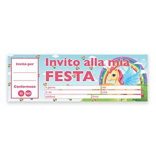 Big Party- Inviti Festa Compleanno Unicorno, Multicolore, 62031