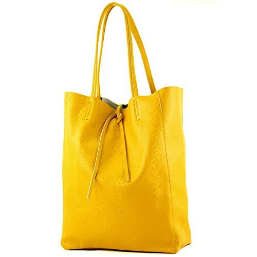 modamoda de - T163 - Ital. Shopper Large mit Innentasche aus Leder, Farbe:Gelb