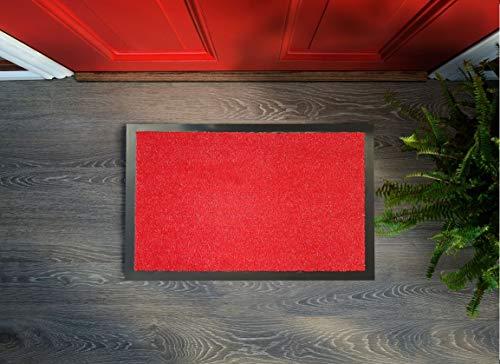 Textil Fußmatte Schmutzfang-Matte Flush – mit Glitzer-Fäden, 40 x 60 cm, Waschbare, rutschfeste, Pflegeleichte Eingangsmatte, Sauberlauf-Matte, Türvorleger für Innen & Außen (Rot, 40 x 60 cm)