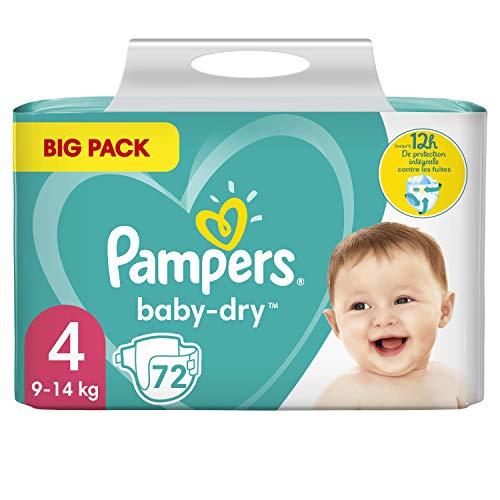 Pampers Baby-Dry - Pañales para bebé (tamaño 4, 72 pañales, protección total hasta 12 horas, 9-14 kg, 2 unidades de 1,836 kg)
