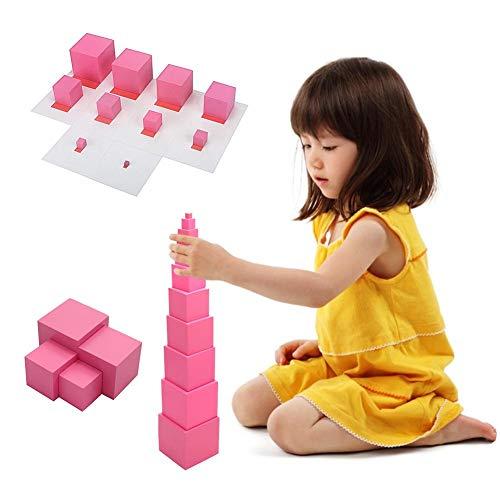 coil.c Montessori Rosa Torre Cubito, bloques de madera, apilables, juguete de motricidad para niños, juguete educativo para bebés