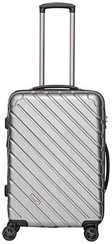 Packenger Koffer - Vertical (L), Silber-Metallic, 4 Zwillingsrollen, 74 Liter, 64cm, Koffer mit TSA-Schloss, Erweiterbarer Hartschalenkoffer (Polycarbonat) robuster Trolley Reisekoffer