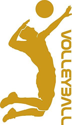 GRAZDesign 660192_50_820 Wandtattoo Volleyball | Sportlicher Wandsticker für Sportraum | Aufkleber in 47 Farben (86x50cm//820 Mustard)