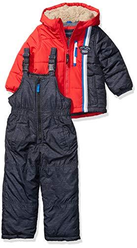 LONDON FOG Boys' Little 2-Piece Snow Pant & Jacket Snowsuit, Red Solid, 4