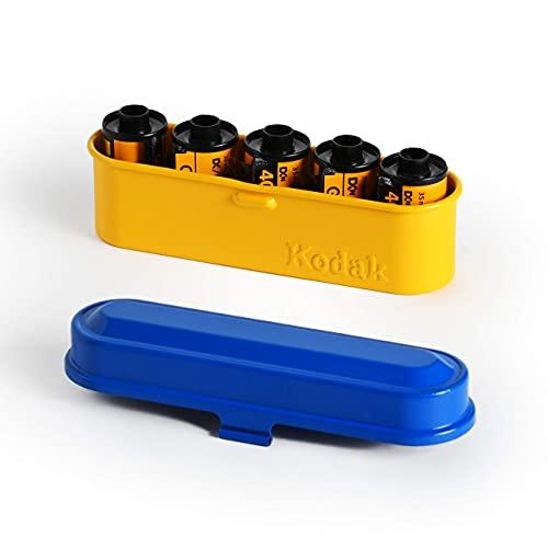 KODAK フィルムケース - 35mmフィルム5ロール用 - コンパクトレトロスチールケース フィルムロールを分類し保護する(ブルー)