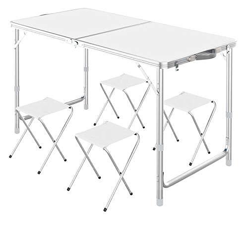 Mesa de picnic plegable para 4 personas, con 4 sillas, altura ajustable, portátil, adecuada para uso al aire libre, paraguas de protección solar se puede instalar - Blanco (4 taburetes)