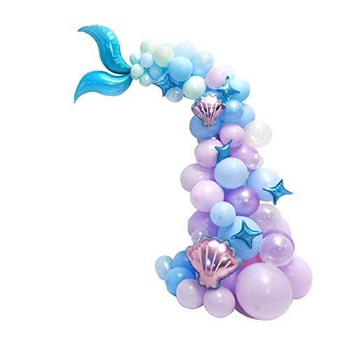 Juego de guirnaldas de globos de cola de sirena, 87 piezas de kit de arco de sirena, globos de látex, suministros de fiesta de sirena para cumpleaños / baby shower / fiesta bajo el mar (púrpura-azul)